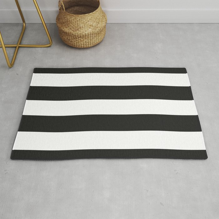 Exceptionnel Thick Fat Large Vertical Black And White Stripes Rug