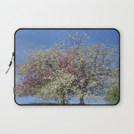 Pink and White Blossom - Blue Sky Laptop Sleeve