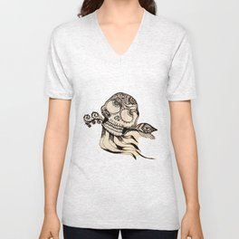 49. Henna Skull with Eye Flying in the Halloween Night as Metal Style Unisex V-Neck