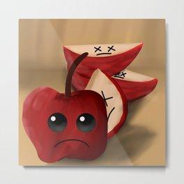 Surreal Sad Apple Metal Print