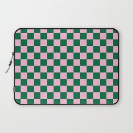 Cotton Candy Pink and Cadmium Green Checkerboard Laptop Sleeve