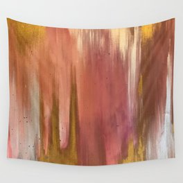 Blush with Gold Abstract Wall Tapestry