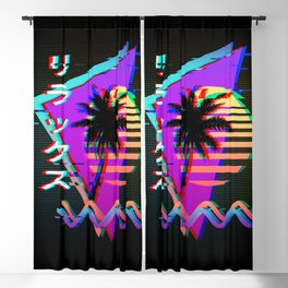 """""""Relax"""" リラックス, 80's - 90's Memphis Palm Pattern, Vaporwave Glitch Aesthetic Blackout Curtain"""