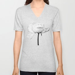 White Peony Black Background Unisex V-Neck