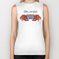 crab Biker Tanks featuring Oh, Crab! by ArtLovePassion