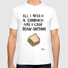All I Need Is A Sandwich MEDIUM Mens Fitted Tee White