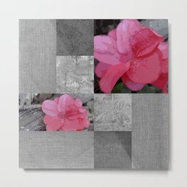 Gray Burlap and Damask with Pink Azaleas - Modern Farmhouse Metal Print