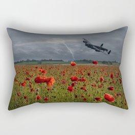 Lancaster Bomber Over A Poppy Field Rectangular Pillow