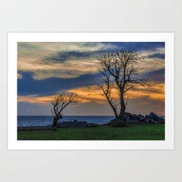 Sunset Scene at Waterfront Boardwalk, Montevideo Uruguay Art Print