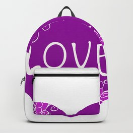 Heart Love violet with Flowers Illustration Backpack