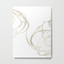 Beige and Brown Minimalist Abstract Line Drawing 3 Metal Print