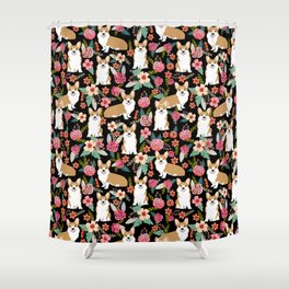 Corgi Florals - vintage corgi and florals gift great for corgi lovers, corgi gift, corgi florals, co Shower Curtain