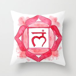 Muladhara chakra watercolor painting Throw Pillow