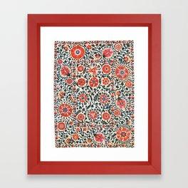 Shakhrisyabz Suzani  Uzbekistan Antique Floral Embroidery Print Framed Art Print