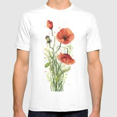 Red Poppies Watercolor Flower Floral Art MEDIUM White Mens Fitted Tee