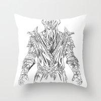 skyrim Throw Pillows featuring skyrim dragonborn miraak by  Steve Wade ( Swade)