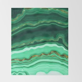 Gold And Malachite Marble Throw Blanket