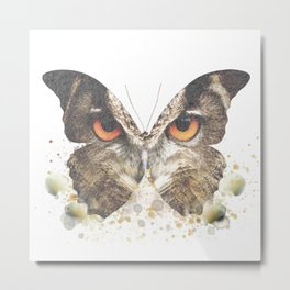 Wise & Free - Owl Butterfly Metal Print