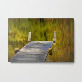 Autumn Reflections and Boat Dock Metal Print