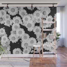 The Daisy Garden (Black and White) Wall Mural