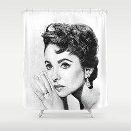 Elizabeth Taylor Stippling Portrait Shower Curtain