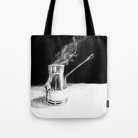 arabic Tote Bags featuring Arabic Coffee by Camille Gilbert