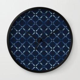 Indigo Blue Pattern Cross Grid Hand Drawn Wall Clock