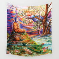 zen Wall Tapestries featuring Zen by Kat Miles