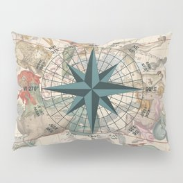 Compass Graphic with an ancient Constellation Map Pillow Sham