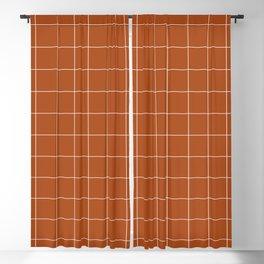 Windowpane Check Grid (white/burnt orange) Blackout Curtain