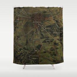 Vintage Gettysburg Pennsylvania Park Map (1916) Shower Curtain