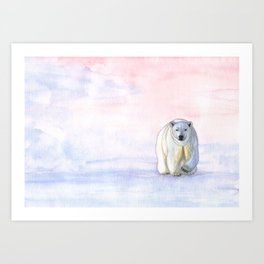 Polar bear in the icy dawn Art Print