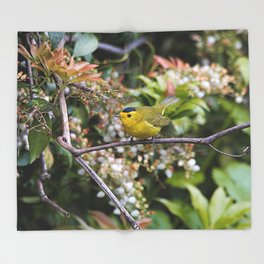 Cute Wilson's Warbler on the Grapevine Throw Blanket