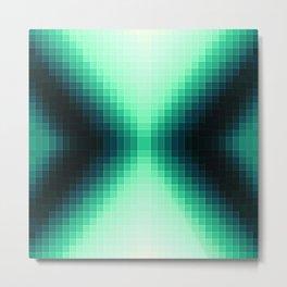 Midnight Blue & Mint Pixels Metal Print