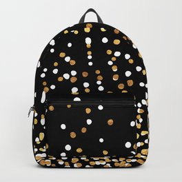 Floating Dots - White and Gold on Black Backpack