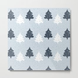 Pine tree forest in winter - pattern Metal Print