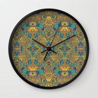 arabic Wall Clocks featuring Arabic Marigold by GEETIKAGULIA