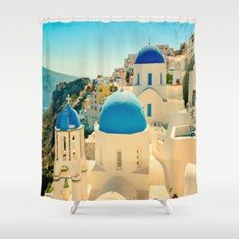 Santorini Greece Famous Blue Domes Shower Curtain