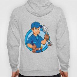 Cartoon plumber holding a big shovel. Hoody