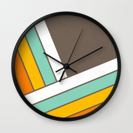 Retro 70s Stripes  -  Abstract Geometric Design Wall Clock