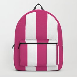 Fuchsia purple - solid color - white vertical lines pattern Backpack