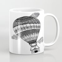 baloon Mugs featuring Hot Air Baloon by Fill Design by mervegokdere