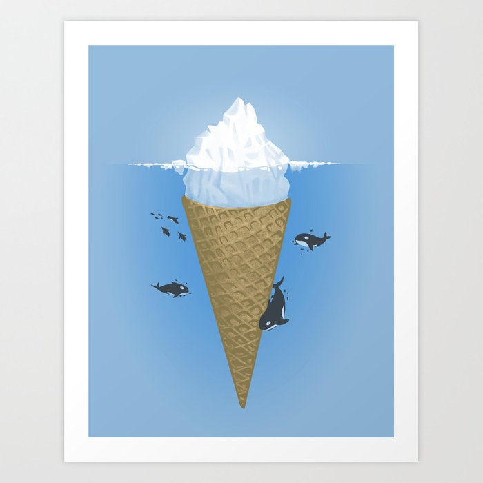 Hidden part of icebergs Art Print