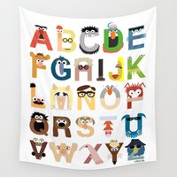 alone Wall Tapestries featuring Muppet Alphabet by Mike Boon