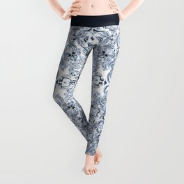 Indigo, Navy Blue and White Calligraphy Doodle Pattern Leggings