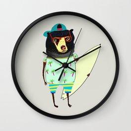 Surfer Bear. surfing art, surf decor, cool, Wall Clock