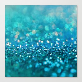 Teal turquoise blue shiny glitter print effect - Sparkle Luxury Backdrop Canvas Print