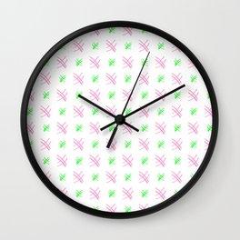 Hashtag or sharp 9 - pink and green Wall Clock