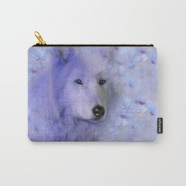 WOLF BLUE LILAC PURPLE FLOWER SPARKLE Carry-All Pouch