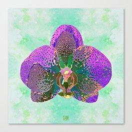 Watercolor Orchid Portrait #2 | Floral Art Print | Purple Green Canvas Print